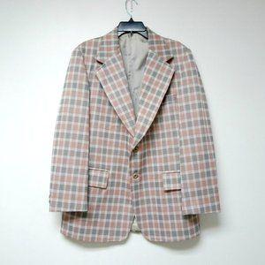 VTG 70s Lenox Royal Collection plaid poly jacket